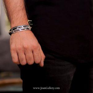 دستبند چرم بافت دار لاتیشو پر کردم