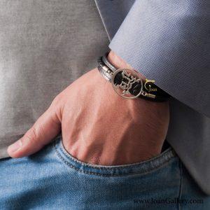 دستبند چرم بافت دار مردیم از خوشی