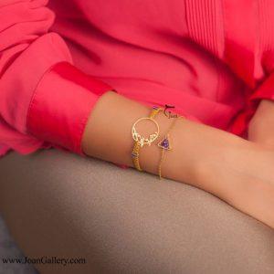 دستبند نگین مثلث با زنجیر